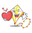 with heart cute kite flying the on mascot vector image