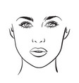 woman portrait face chart makeup template vector image vector image
