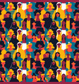 Womens day seamless pattern of diverse woman faces
