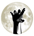 zombie hand on full moon in background vector image