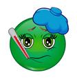 Sick emoticon smiley vector image