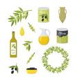 cartoon olive oil elements set vector image