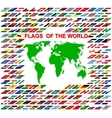 Flags of the world and map on white background vector image