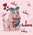 a little dog girl with a bow holding a heart tied vector image