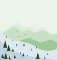 Abstract landscape with pine trees snow vector image