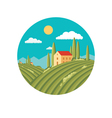 Agriculture landscape with vineyard vector image