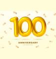 anniversary golden balloons number 100 vector image vector image