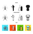 ant staff in overalls and equipment black flat vector image