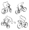 bicyclists outline vector image