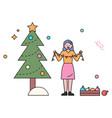 christmas winter holidays decoration pine tree vector image