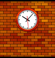 clock on brick wall vector image vector image