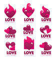collection of heart hands and love logo concept