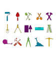 construction tool icon set color outline style vector image