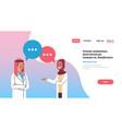couple arabic doctors chat bubble treatment vector image vector image