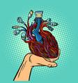 cyber heart in human hand vector image vector image