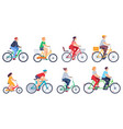 cycling people women men ride bikes sports vector image vector image