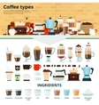 Different coffee on the table vector image vector image