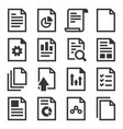 document report related icons set on white vector image