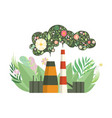 eco friendly power plant with flowers instead of vector image vector image