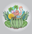 flamingo summer with nature leaf and coconut artwo vector image vector image