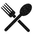 Fork And Spoon Grainy Texture Icon vector image vector image
