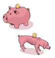 full and empty piggy bank vector image vector image