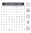 gadgets editable line icons 100 set vector image vector image