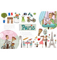 hand drawn paris elements concept vector image vector image