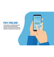hands man with phone pay online vector image vector image