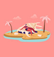 happy tourist woman enjoying summer vacation vector image vector image