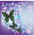 Light glowing abstract background with butterflies vector image
