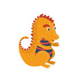 little orange dragon cartoon character mythical vector image