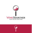 logo for online wine search magnifying wine glass vector image vector image