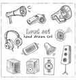 loud hand drawn doodle set isolated elements vector image