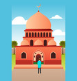 muslim man going to mosque for prayer vector image vector image