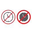 no clock line and glyph icon prohibited and ban vector image vector image