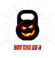 One black kettlebell with evil smile and vector image vector image