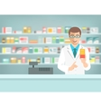 Pharmacist counter man with medicine in pharmacy vector image vector image