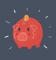 piggy bank with coin money vector image vector image