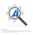 railroad track icon search glass with gear symbol vector image
