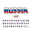 russia cartoon font russian national flag colors vector image