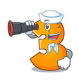 sailor with binocular cartoon number three on vector image