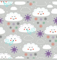 seamless pattern with cloudsnowflake snd wind vector image