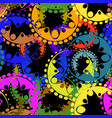 seamless texture of bright blue and orange gears vector image