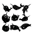set cartoon narwhals collection black and vector image