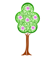 Spring green tree with blossom flowers vector image vector image