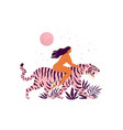 tiger and a women inspirational poster love vector image vector image