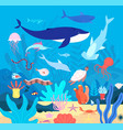 underwater cute undersea animals cartoon sea vector image