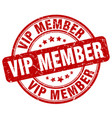 vip member red grunge stamp vector image vector image