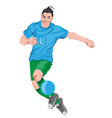 young man playing football colorful clothes and vector image vector image